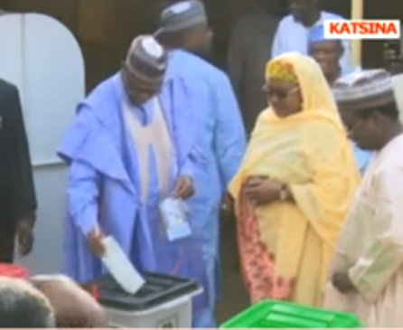 Photos: President Buhari and his wife, Aisha, cast their vote