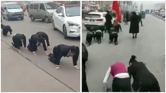 China company forces employees to crawl on road as punishment for not completing targets. Video goes viral