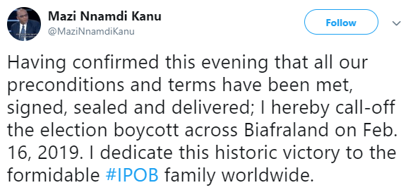 Nnamdi Kanu calls off IPOB election boycott