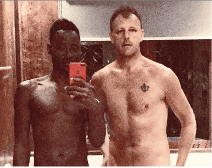 Bisi Alimi and husband Anthony Davis expose their pubic hair in shirtless bathroom selfie