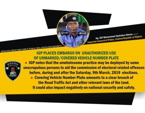 Governorship Elections: Police IG bans use of unmarked, covered vehicle number plates