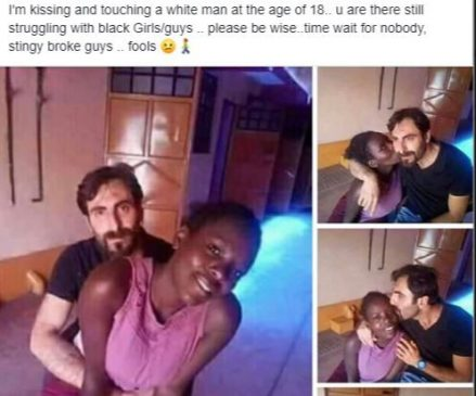 'I'm kissing and touching a white man at 18 while you're still struggling with broke black guys'  as seen on a viral post.