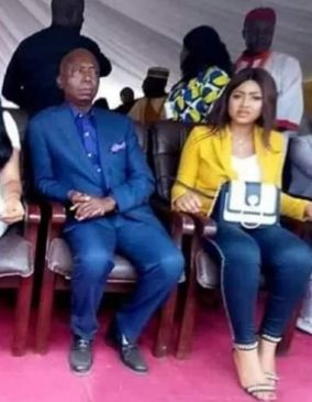 "Photos: Regina Daniels first public appearance with her old man looking husband ""Ned Nwoko"