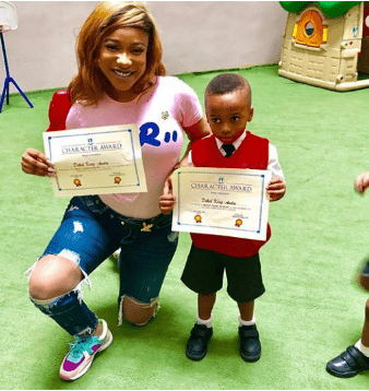 Photos of Tonto Dikeh's son's award confirms that his surname has officially been changed to Dikeh