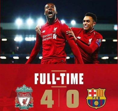 Liverpool humiliates Barcelona 4-0 to qualify for UEFA Champions League final