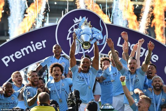 Manchester thrash Brighton 4-1 to win Premier league titles back to back(photos)