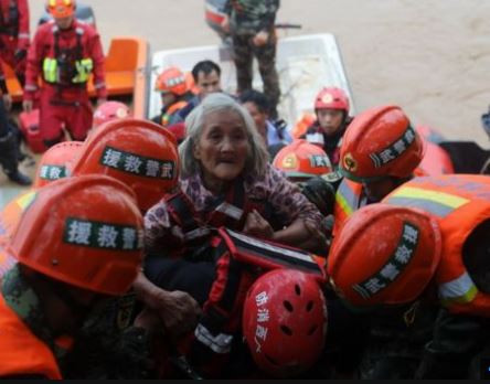 Heavy rainfall leaves five people dead and thousands more stranded in China