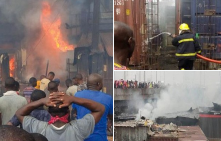 Popular Apongbon market in Lagos state on fire