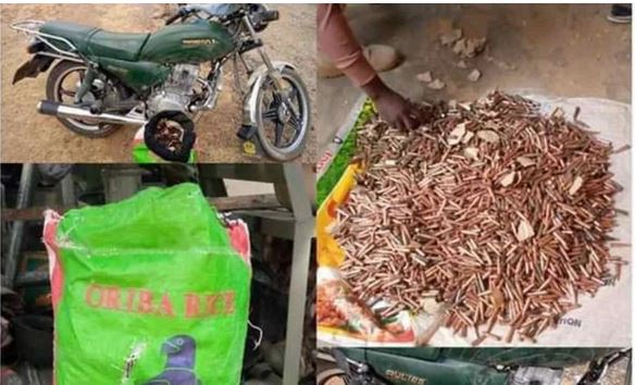 An Okada rider who refused to stop during a search has been intercepted with 4,653 rounds of bullets disguised in a bag of rice in Zamfara state